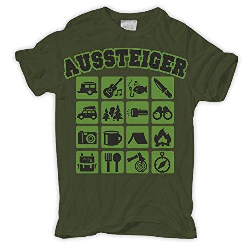 Männer und Herren T-Shirt Aussteiger Olive