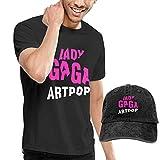 Photo de Kalinanai t-Shirts, Tee's, Lady Gaga Men's Classic T-Shirt with Washed Denim Baseball Hat Black par Kalinanai