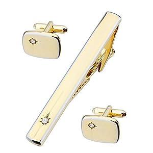 HAWSON Manschettenknöpfe und Krawattenklammer mit Glitzerstein, für Herren, goldfarben