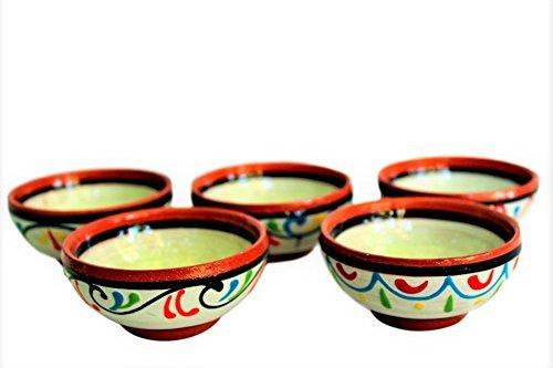 Cactus Canyon Keramik Terracotta, Weiß, Super Mini-Bowl Set von 5-Hand Bemalt aus Spanien - Canyon Keramik