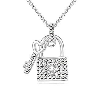 Daesar Schmuck Damenkette Vergoldet Sperren Schlüssel Halskette Zirkonia Strass Anhänger Halskette für Frauen