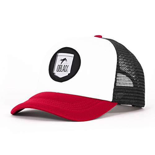 Oblack Trucker Cap Red Memphis Kappe Herren mit Schwarz Basecap Herren Rot Baseball Cap - Cap Herren