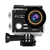 XIAOJING Action-Kamera Coco X5 PRO Sportkamera 30MP 4K WiFi wasserdichtes Sport-Cam 170-Grad-Ultra-Weitwinkelobjektiv mit Akku und Montage-Kit
