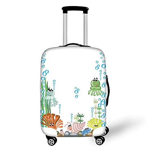 Travel Luggage Cover Suitcase Protector,Jellyfish,Aquarium with Seashell Octopus Stones Water Bubbles Funny Cartoon Illustration,Blue Green Yellow,for Travels 19x27.5Inch - Net Aquarium Kit