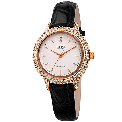 Burgi Swarovski BUR249 Women's Swarovski Crystal Studded Case Watch with...