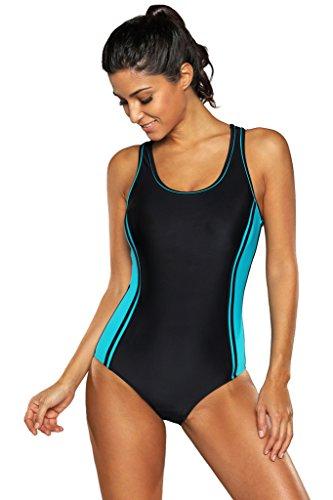 Attraco Damen Figurumspielender Badeanzug Streifen Einteiler Sport Bademode Test