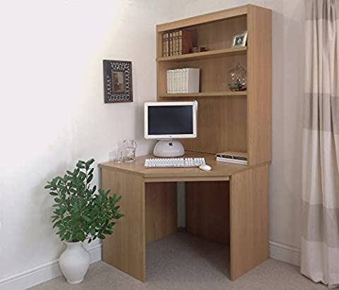 B-CDK-OJ-IN-CO Classic Oak Corner Desk Unit Computer Table Home Office Furniture UK Wooden Effect With Storage Book Shelf Hutch Laptop Gaming Small Studio Sturdy Bespoke PC Designer