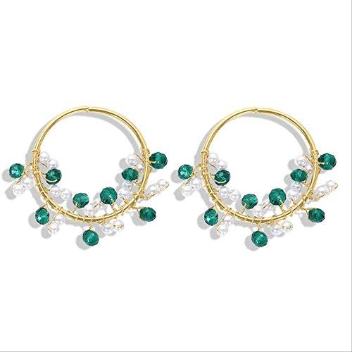 KBWL Orecchini Nuovi perline di pietra fatte a mano Orecchini pendenti rotondi Fascino da donna Gioielli di perle Orecchini di personalità in metallo Gioielli16