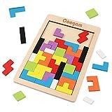 Coogam Tetris in Legno Puzzle 40 Pz Tangram Jigsaw Rompicapo per Bambini Legno Puzzle Cervello Gioco Building Block Intelligenza Regalo Educativo per Toddlers