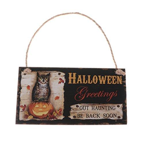 Halloween Tür-Schilder aus Holz mit Kordel zum Aufhängen - Türhänger Wandschild Türschild Dekoration (Out haunting&Be back soon) (Halloween Dekoration Schilder)