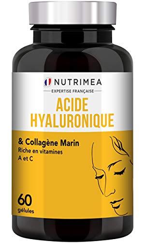 ACIDE HYALURONIQUE PUR & COLLAGENE MARIN - Enrichi en Vitamines A & C - Antirides naturel puissant - Restructure la peau en profondeur - Articulations et Anti-âge - Gélules Vegan - Fabriqué en France