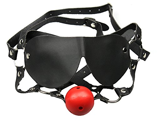 Demarkt Harness mit Augenmaske Bondage Kopfgeschirr Fetish Face Kit Mundknebel