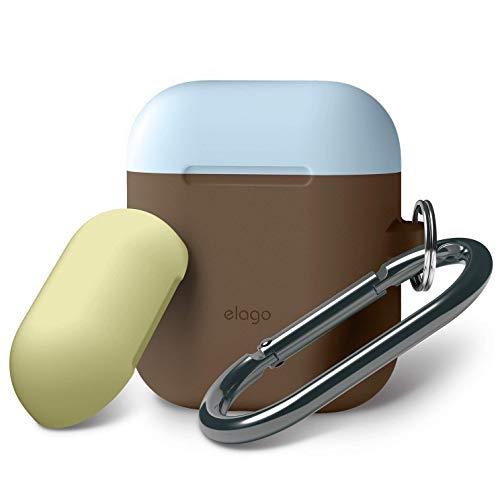 elago AirPods Tasche Duo Hang Silikonhülle mit karabiner - [2 Caps & 1 Body] [Stoßfeste Schutzhülle] [Perfekt Passt Hülle] - für Apple AirPods Aufladen Case (Body-Dunkelbraun/Top-Gelb, Coral Blau)