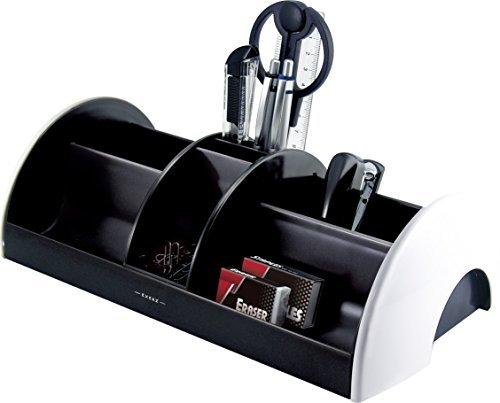 Exerz EX895A O-Life MEGA Tisch-Organizer/ Ablagesystem mit Bürobedarfset 30x16x9 cm - Schere, Hefter, Heftklammern, Lineal, Radiergummi, Büroklammern INKLUSIVE - Ablagesystem / Stiftehalter / Schreibtischset (Weiß)