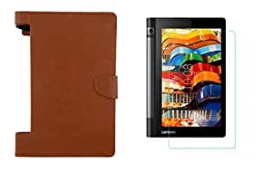 Colorcase Executive Leather Tablet Flip Cover Case for Lenovo Tab 3 Yoga 8.0 - (Tan Brown) with Tempered Glass (Combo Pack)