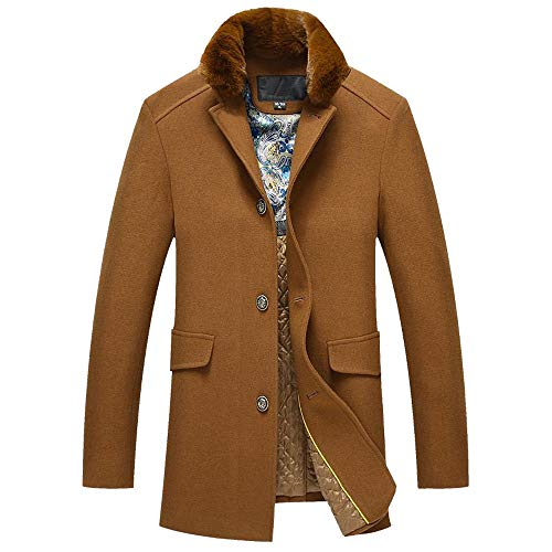 iHAZA Wool Trench Coat Mens Faux Fur Collar Long Thicken for sale  Delivered anywhere in Ireland