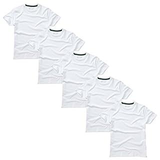 Charles Wilson 5er Packung Einfarbige T-Shirts mit Rundhalsausschnitt (Large, Plain White)