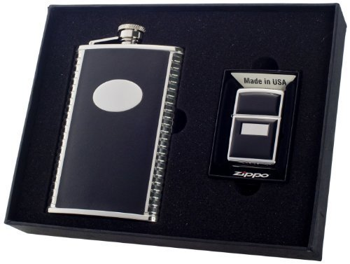visol-tux-flask-and-zippo-lighter-gift-set-with-black-emblem-8-ounce-by-visol