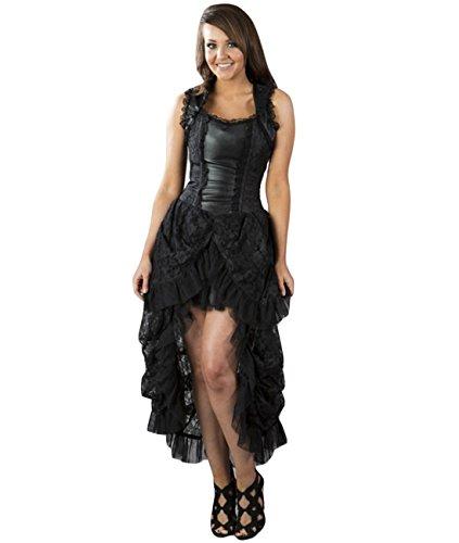 Burleska-Corsetto vestito-Isabella Brocade Nero Dress Vittoriano nero 42