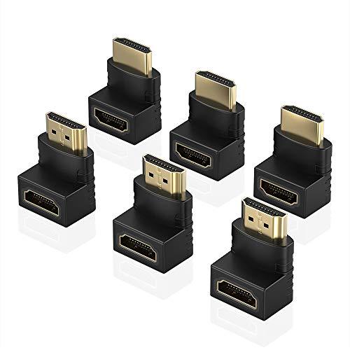 ELUTENG HDMI Adapter 6 Stück 4K Full HD HDMI Winkelstecker 270/90 Grad HDMI Kupplung Winkel Stecker auf Buchse Schwarz für HDTV, DVD-Player, Blu-Ray Player, PC, Audio-Receiver usw. MEHRWEG