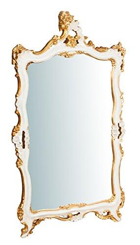 Wandspiegel aus Holz Finish Blatt Elfenbein und Gold antik Made in Italy L66x pr5,5X H118cm -