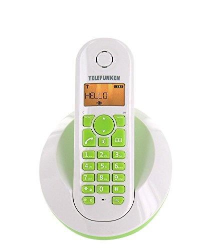 Telefunken TB201 - Teléfono fijo inalámbrico con manos libres, color verde