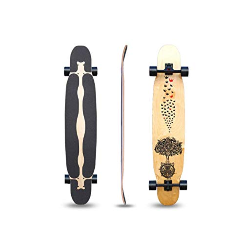 WENYAO Skateboards Longboard Collection 47 Zoll Longboard Skateboards Bambus mit hartem Ahornkern Cruisen, Carven, Tanzen, Freestyle - Rohholz -