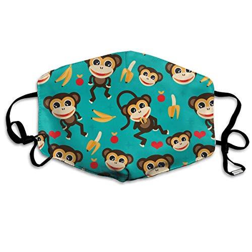 Funny&shirt Mundmaske für Damen und Herren, mit Ohrschlaufe, für halbe Gesichtsmaske, staubdicht, weich, winddicht, für Kinder, Jugendliche, Jungen und Mädchen (Affe Love Banana)