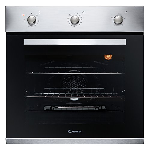 41VBwS7L8pL. SS500  - Candy FCP403X Oven Single Fan Stainless Steel A Energy Rating 4 Functions 65 Litre Capacity Minute Minder Rotary Controls Double Glazed Door