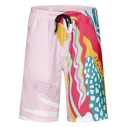 Charzee Herren Parrot Printed Boardshorts Vielfarbig Sommer Slim Fit Strand Shorts mit Mesh-Futter und Verstellbarem Tunnelzug twig - Niedliche Taucher Kostüm