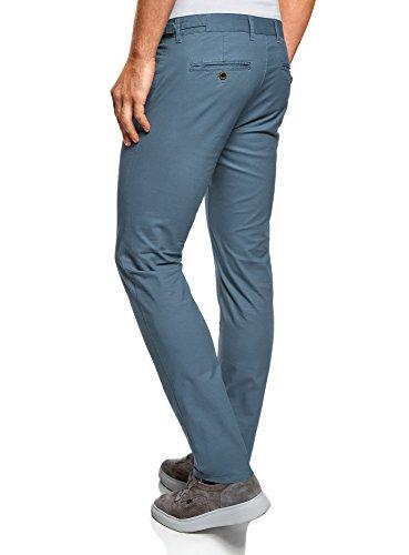 oodji Ultra Herren Baumwoll-Chinohose mit Verstellbarem Bund Blau (7500N)
