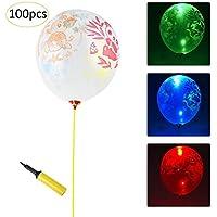 Set de 100 globos LED con brillo transparente, globo de látex engrosado luminoso, globo de luz LED Beatie globo de látex decorativo para bodas, despedida de soltera, decoraciones para fiestas
