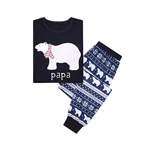 WEIMEITE NaviPapá Pijamas Oso Trajes A Juego Familiar Conjunto Hombres Mujeres Niños Ropa Conjunto Niños Ropa de Bebé Pijamas Ropa de Dormir Ropa de Dormir Papá M