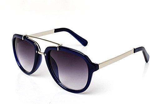 DESESHENME Women's Stylische Sonnenbrille Star Gläser UV-Schutz, Blau Rand graue Linse -