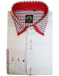 ed813a9945e Marc Darcy Mens Italian Designer White Check Print Collar Shirt S M L XL XXL