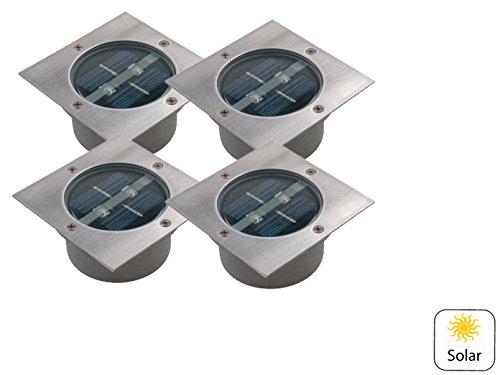 4er-Set LED Solar-Bodeneinbaustrahler 4-eckig, Edelstahl, Glas, Carlo, IP44; 5000.198