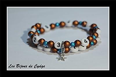 Bracelet d'allaitement sur fil à mémoire de forme de 55mm avec perles magiques marron et turquoise