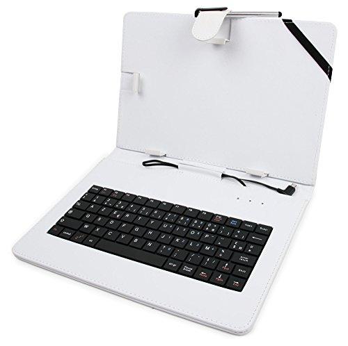 Weiße DuraGadget Hülle mit Stand-Funktion & integrierter Tastatur für Blaupunkt DISCOVERY 1000C   DISCOVERY 1001   DISCOVERY 1001A   DISCOVERY 1011WI   DISCOVERY 102C Tablets - FRANZÖSISCHE AZERTY Belegung