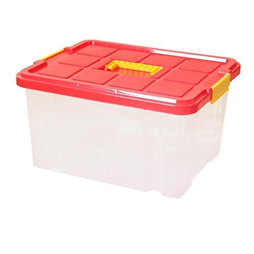 3 Stück AXENTIA Unibox mit Deckel mittiger Griff Stapelbox Universalbox Aufbewahrungskiste Spielzeugbox 44 x 35 x 24 cm 27 Liter