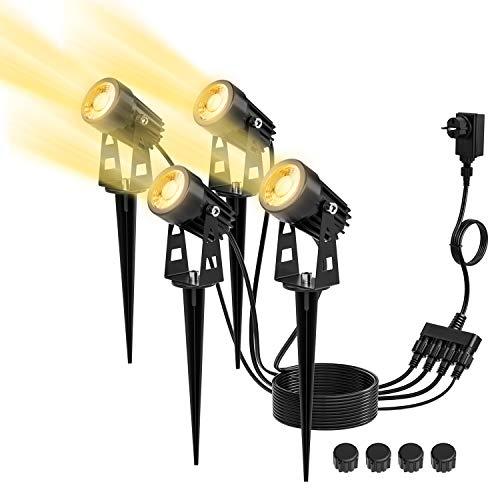 4 in 1 Gartenleuchte, Kohree Gartenbeleuchtung Set, IP65 Wasserdicht LED Gartenstrahler,Warmweiß Gartenlampe 4 x 3W, Außenleuchte mit Stecker und Erdspieß, Wegbeleuchtung Spotbeleuchtung