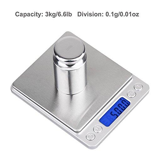 Digitale Küchenwaage IDAODAN 3000*0.1g Lebensmittel Grammschuppen Electronische Professionelle Waage Feinwaage mit Beleuchteter LCD-Anzeige Silber - 2