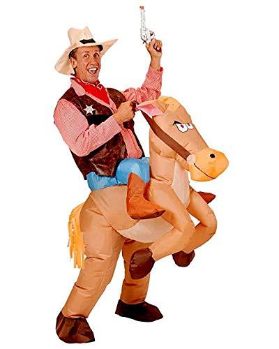 Kostüm Halloween Jockey - ADLOASHLOU Aufblasbares Pferd Kostüm Cowboy Kostüme Halloween Party Geburtstag Cosplay Fantasy, Performances One Size Fits Most