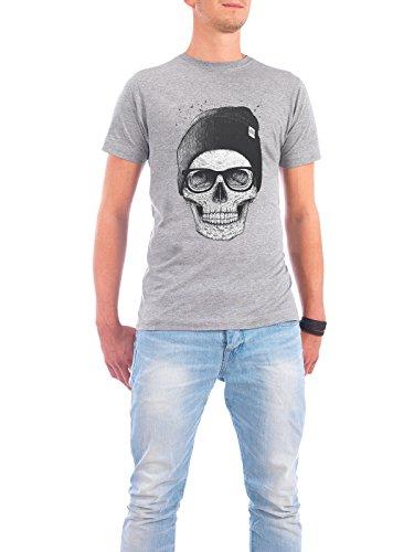 """Design T-Shirt Männer Continental Cotton """"Black skull in a hat"""" - stylisches Shirt Menschen Streetart von Valeriya Korenkova Grau"""