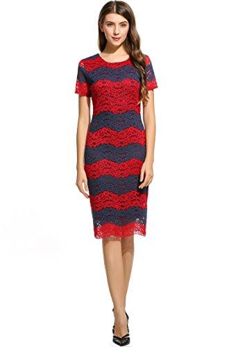 ANGVNS Damen Rundhals Kurzarmes Etuikleid Knielang Spitzenkleid mit floraler Spitze und Streifen Größe 42-44 Rot und Blau