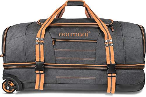 GearUp Große und Leichte Reisetasche mit Rollen und Trolley-Funktion - 90 und 120 Liter Farbe Orange Größe 120 Liter