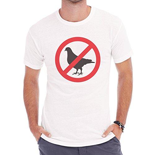 No Birds Round Red Black Herren T-Shirt Weiß