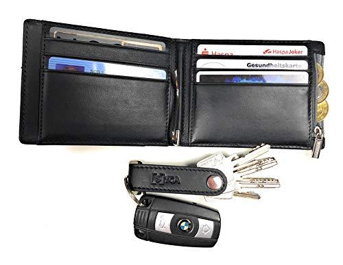 [S] YCA RFID Echt Leder Herren Geldbörse Premium Portemonnaie Geldklammer Geldclip Schlüsselanhänger schwarz Männer Kreditkarten-Halter Karten-Etui Geschenk-Set Portmonee -