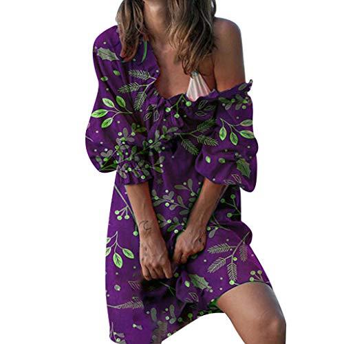 BHYDRY Plus Size Frauen Schulterfrei Blumendruck Langarm Unregelmäßiges Freizeitkleid (Kostüme Plus Real Size)