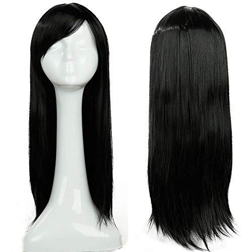 Parrucca lunga nera liscia con frangia da donna capelli sintetici 60cm wig cosplay black per costume carnevale party halloween - nero scuro