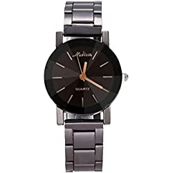 OverDose 1Pair Men and Women Convex Quartz Dial Stainless Steel Wrist Watch Round Case